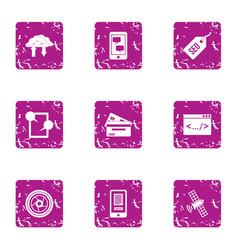 dialog icons set grunge style vector image
