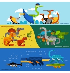 Dinosaurs Banners Set vector