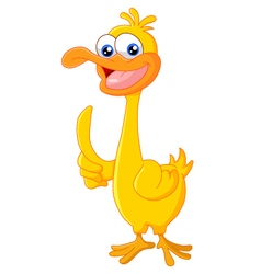 Duck cartoon thumb up vector