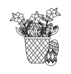 eggs painted and basket with flowers vector image