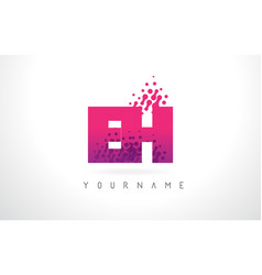Eh e h letter logo with pink purple color and vector