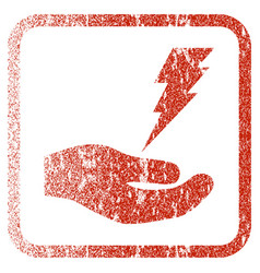 Electric service hand framed textured icon vector