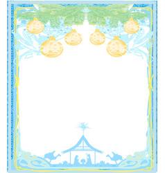 Elegant frame with baubles - birth jesus in vector