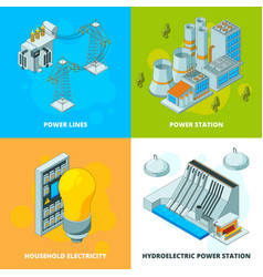 Energy power stations electrical symbols vector