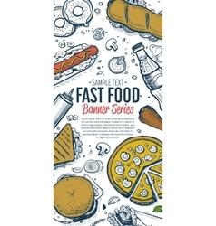 Fast food doodles vertical banner menu vector