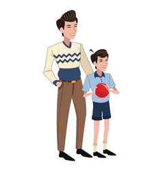Father and son red ball vector