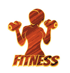 fitness emblem with athletic woman silhouette vector image