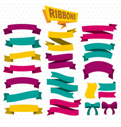 Flat colorful blank ribbons collection vector