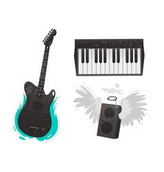 Flat music symbol piano guitar loudspeaker vector