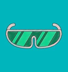 Flat shading style icon ski goggles vector