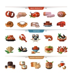 Food set icons symbols meat seafood bread vector