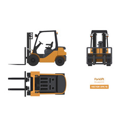 Forklift in realistic style top side front view vector