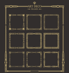 Frames set of art deco gold calligraphic page vector