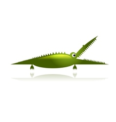 Funny green crocodile for your design vector image