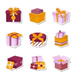 Gift box stickers set vector