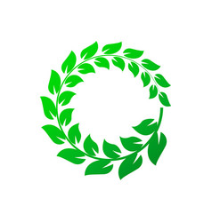 green laurel wreath on white background vector image