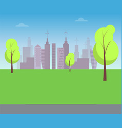 Green lawn with trees and silhouettes of buildings vector