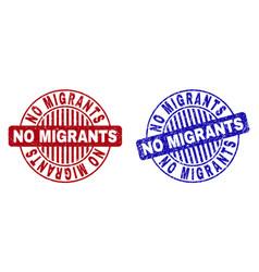 Grunge no migrants scratched round stamps vector
