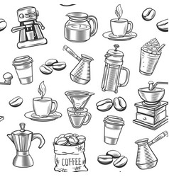 Hand drawn coffee seamless pattern vector