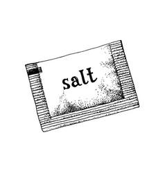 Hand drawn salt sachet vector