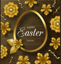 happy easter background with golden frame vector image