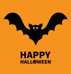 Happy halloween flying black silhouette icon vector