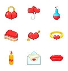 Happy Valentine Day icons set cartoon style vector image
