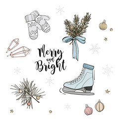 holiday pattern decoration skate with fir branches vector image