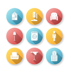 Home comfort flat design long shadow glyph icons vector