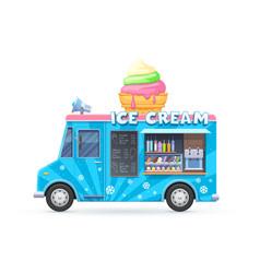 Ice cream food truck isolated cartoon car vector