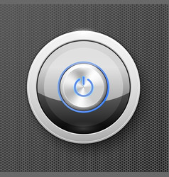 illuminated power button icon - off-on knob metal vector image
