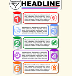 infographic five step template process vector image