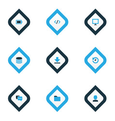 interface icons colored set with folder history vector image