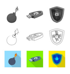 Isolated object of virus and secure icon vector