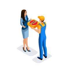 isometric delivery of pizza by the delivery ser vector image