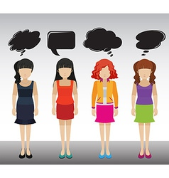 Ladies with empty callouts vector