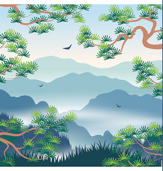 Landscape with foggy mountains and korean pine vector