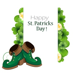Leprechaun green shoes with clover and coins vector
