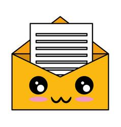 Mail envelope kawaii character vector