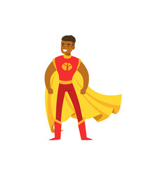 Male superhero in classic comics costume with cape vector