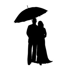 man and woman with umbrella silhouette vector image