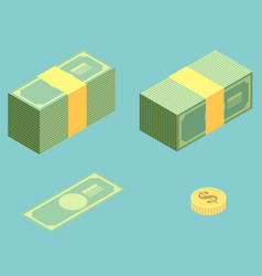 money isometric icon set vector image