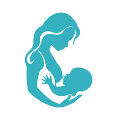 mother and baby silhouette during breastfeeding vector image