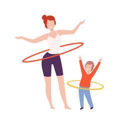 Mother and son doing hula hoop rotating workout vector