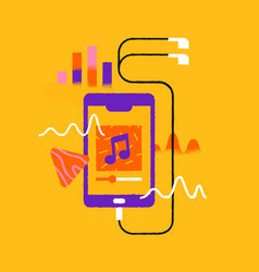 music phone app cartoon with headphones isolated vector image