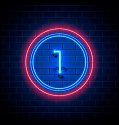 Neon city font sign number 1 vector
