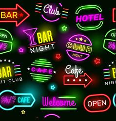 neon hotel pattern vintage glow cinema signage vector image
