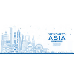outline welcome to asia skyline with blue vector image