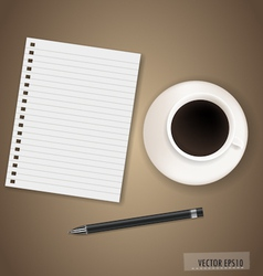 Paper with coffee cup ready for your text vector
