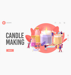 People making aroma candles for home decor landing vector